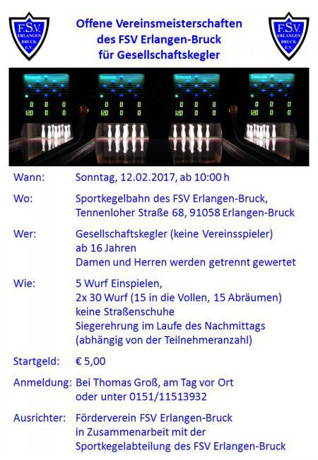 Offene Vereinsmeisterschaften des FSV Erlangen-Bruck für Gesellschaftskegler
